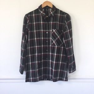 Forever 21 Plaid Embroidered Flannel Shirt.